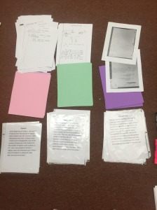 Three tasks, student work sample, and colored paper for reflection.