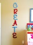 My DIY Yarn lettering in son's bedroom